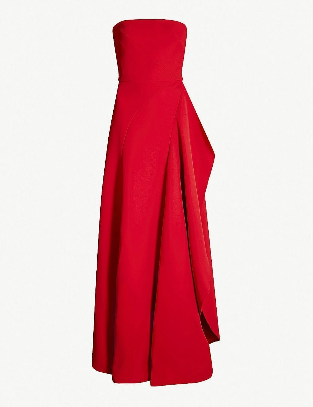 ELIE SAAB Strapless Asymmetric Woven Carmin Red Gown - We Select Dresses