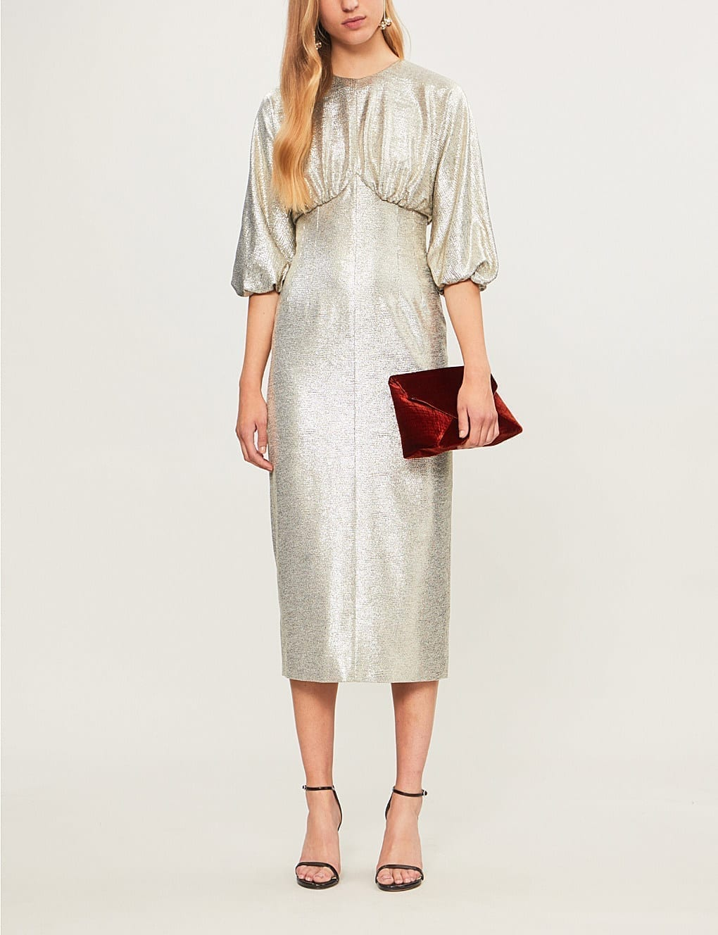 EMILIA WICKSTEAD Elissa Puff-Sleeve Metallic-Knit Silver Dress