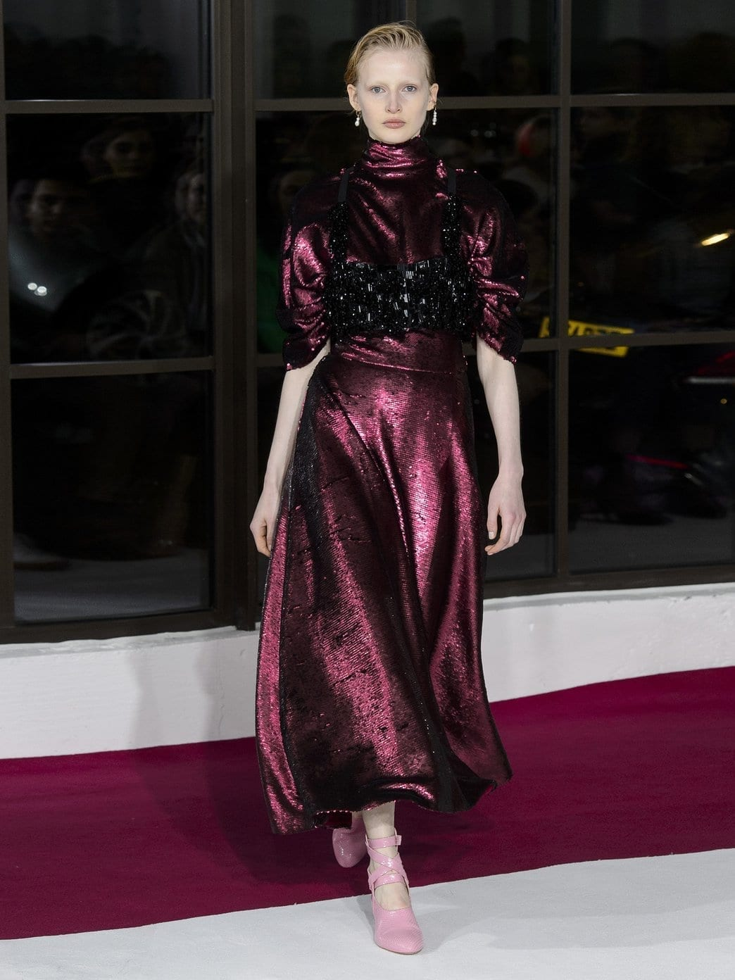 EMILIA WICKSTEAD Mariel Open-Back Sequined Burgundy Gown_2