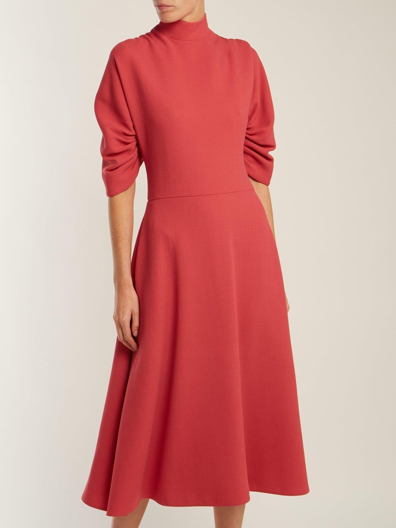 EMILIA WICKSTEAD Marvel Wool Crepe Pink Dress