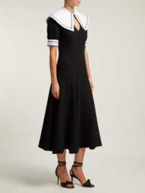 EMILIA WICKSTEAD Sabine Short Sleeved Wool Crepe Midi Black Dress