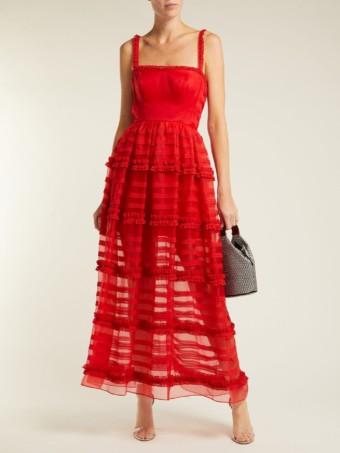 EMILIO DE LA MORENA Jade Silk And Lace Red Gown
