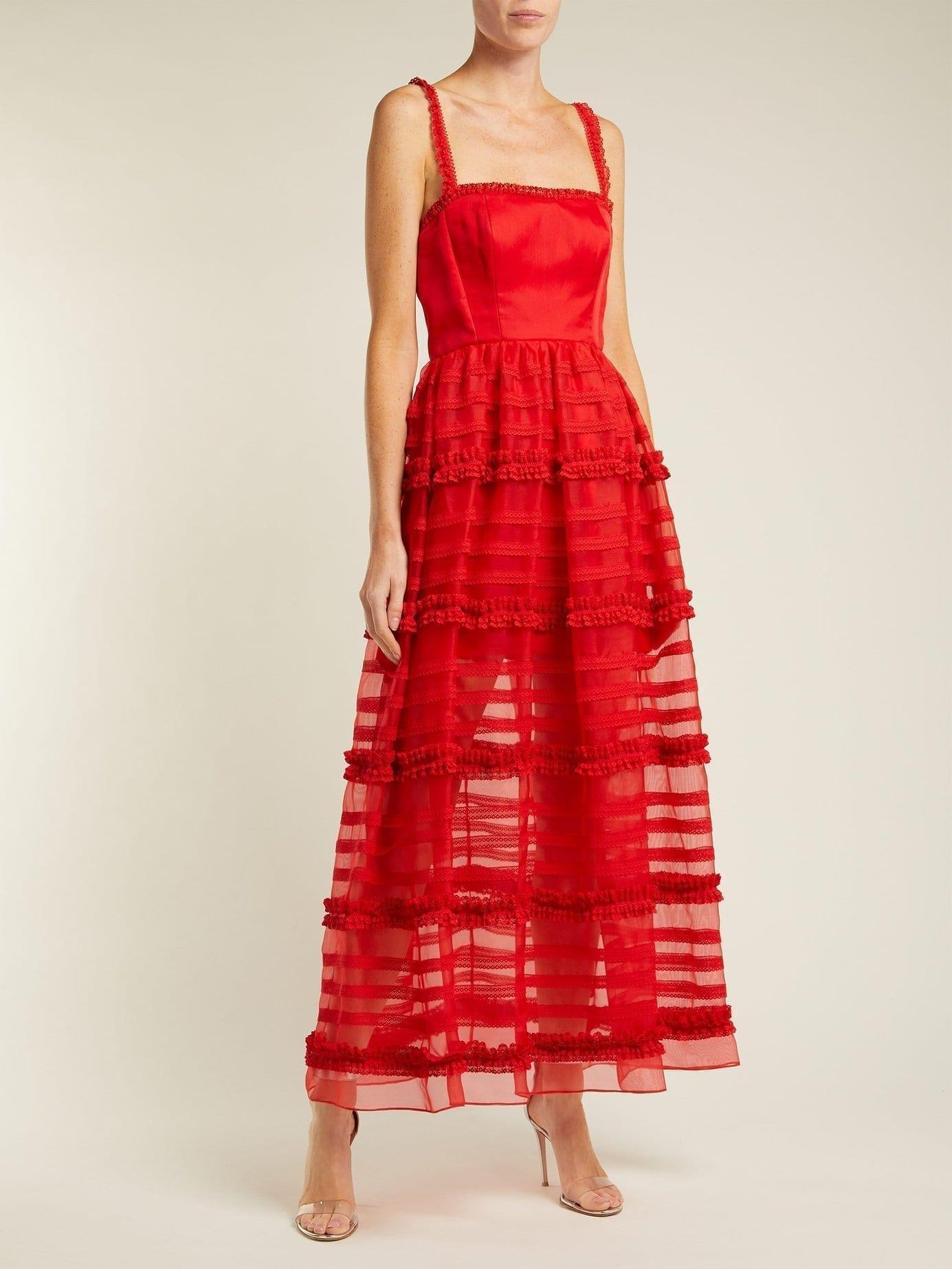EMILIO DE LA MORENA Jade Silk And Lace Red Gown - We Select Dresses