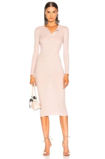 ENZA COSTA Cashmere Long Sleeve Henley Midi Pink Dress