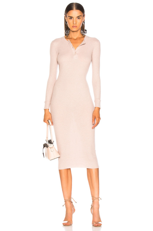 ENZA COSTA Cashmere Long Sleeve Henley Midi Pink Dress