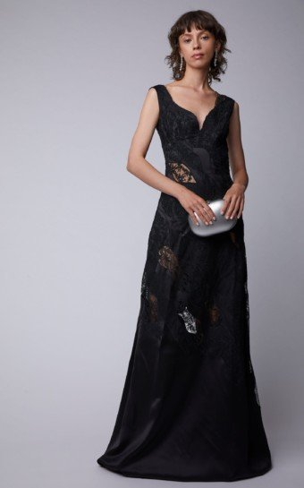 ERMANNO SCERVINO Lace-Paneled Satin Black Gown