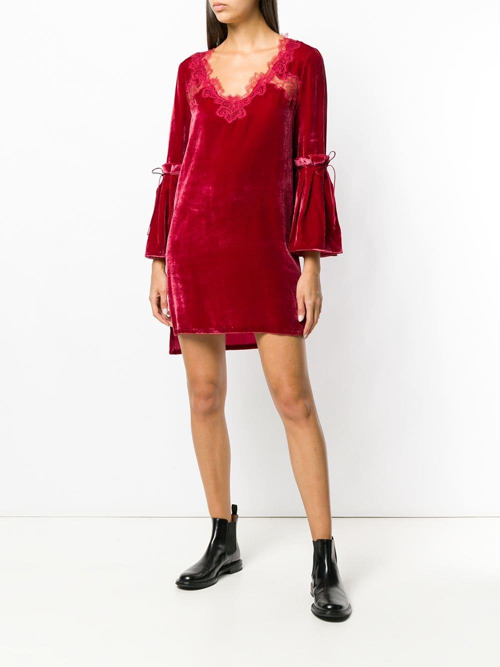 ERMANNO SCERVINO Short Lace Embellished Red Dress