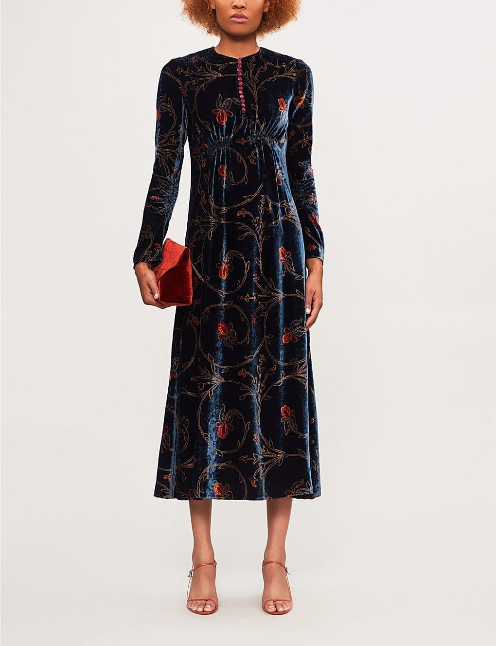 Etro Fl Print Velvet Midi Blue Multi Dress