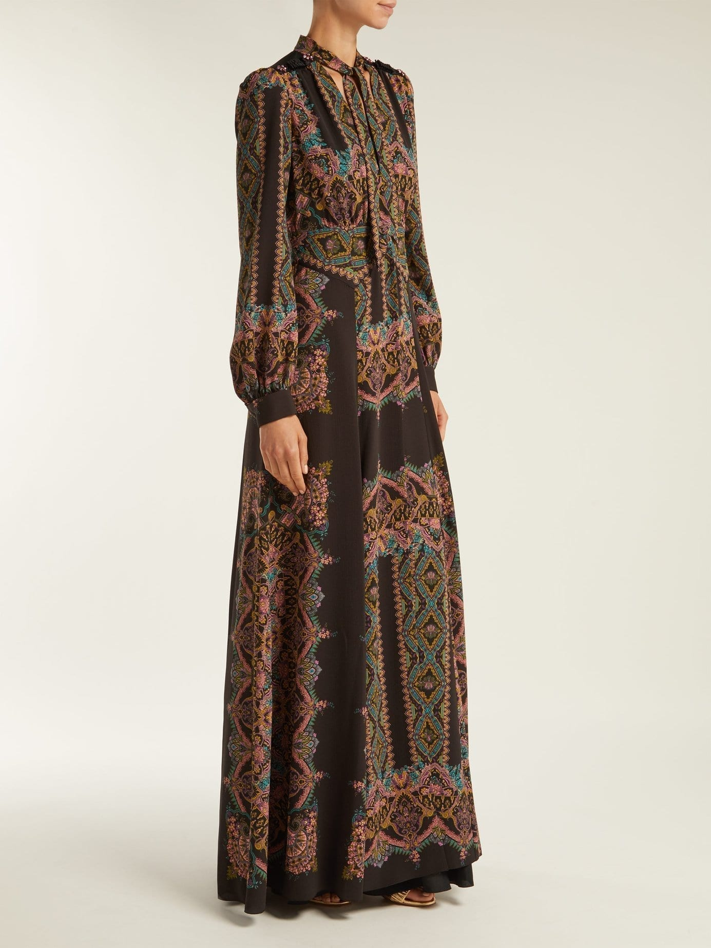 ETRO Paisley Print Pussy Bow Crepe Black Gown