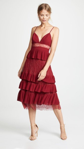 FAME AND PARTNERS The Felicity Burgundy Dress