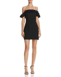 FRENCH CONNECTION Whisper Light Ruffled Off-the-Shoulder Black Dress