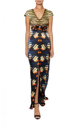 Flutter Print Tie Brown Dress