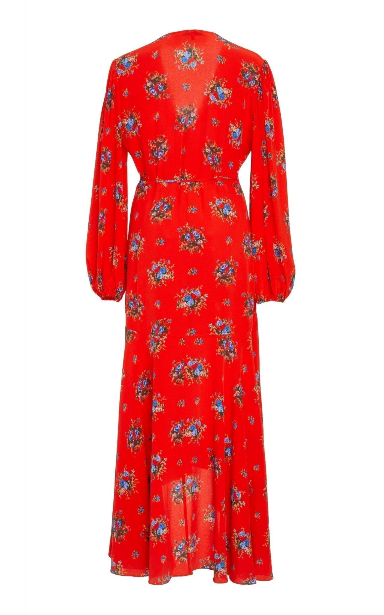 Ganni Kochhar Silk Crepe De Chine Wrap Red Floral