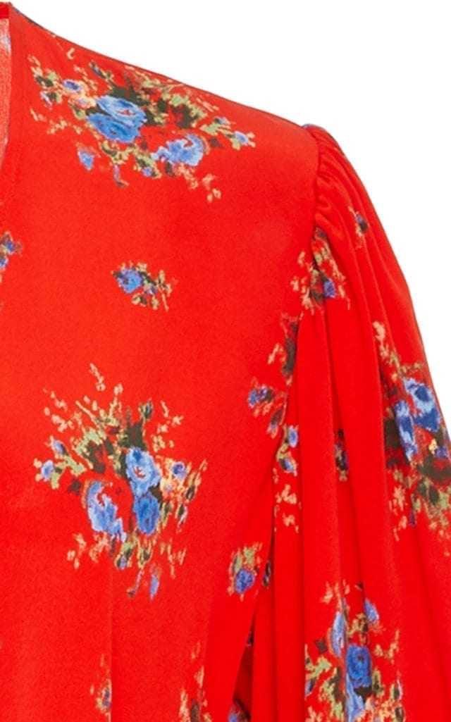 0dc801c441a4 GANNI Kochhar Silk Crepe De Chine Wrap Red / Floral Printed Dress ...