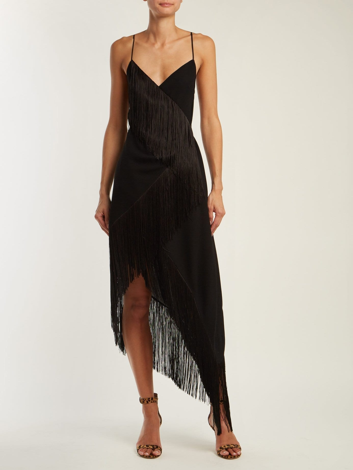 GIVENCHY Fringed Asymmetric Hem Wool Crepe Black Dress