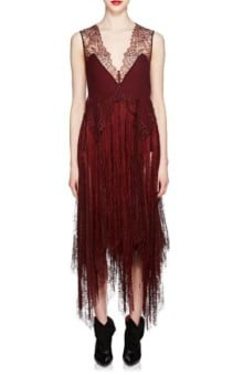 GIVENCHY_Silk_&_Lace_Fringed_Slip_Burgundy_Dress