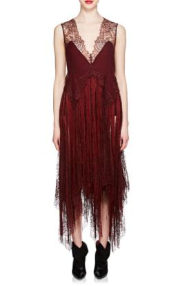 GIVENCHY_Silk_&_Lace_Fringed_Slip_Burgundy_Dress