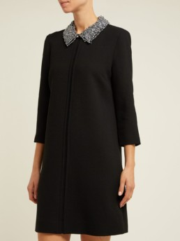 GOAT Gleam Bead Embellished Wool Black Dress