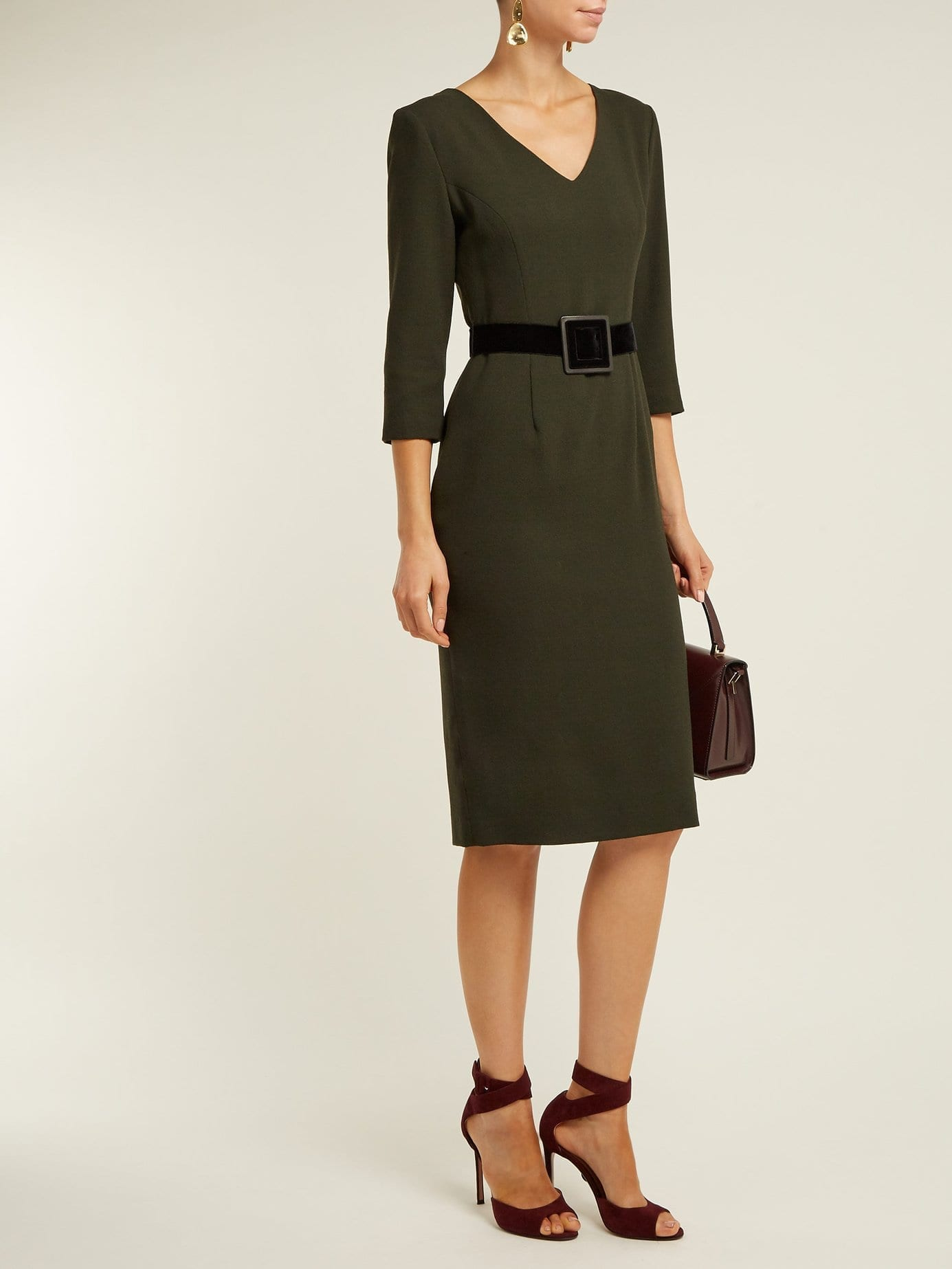GOAT Graduate Wool-crepe Pencil Dark Green Dress