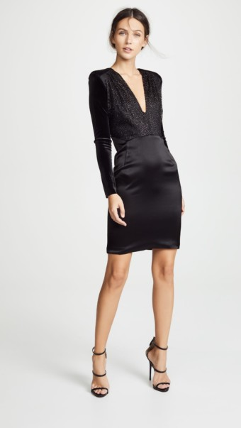 HANEY Stam U Neck Mini Onyx / Platinum Dress