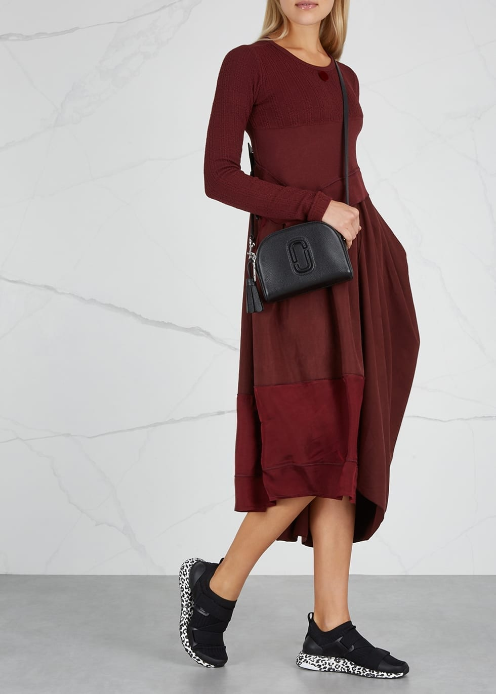 HIGH Whirlwind Asymmetric Jersey Red Dress