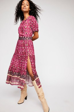 Honey Buttondown Midi Deep Violet Dress