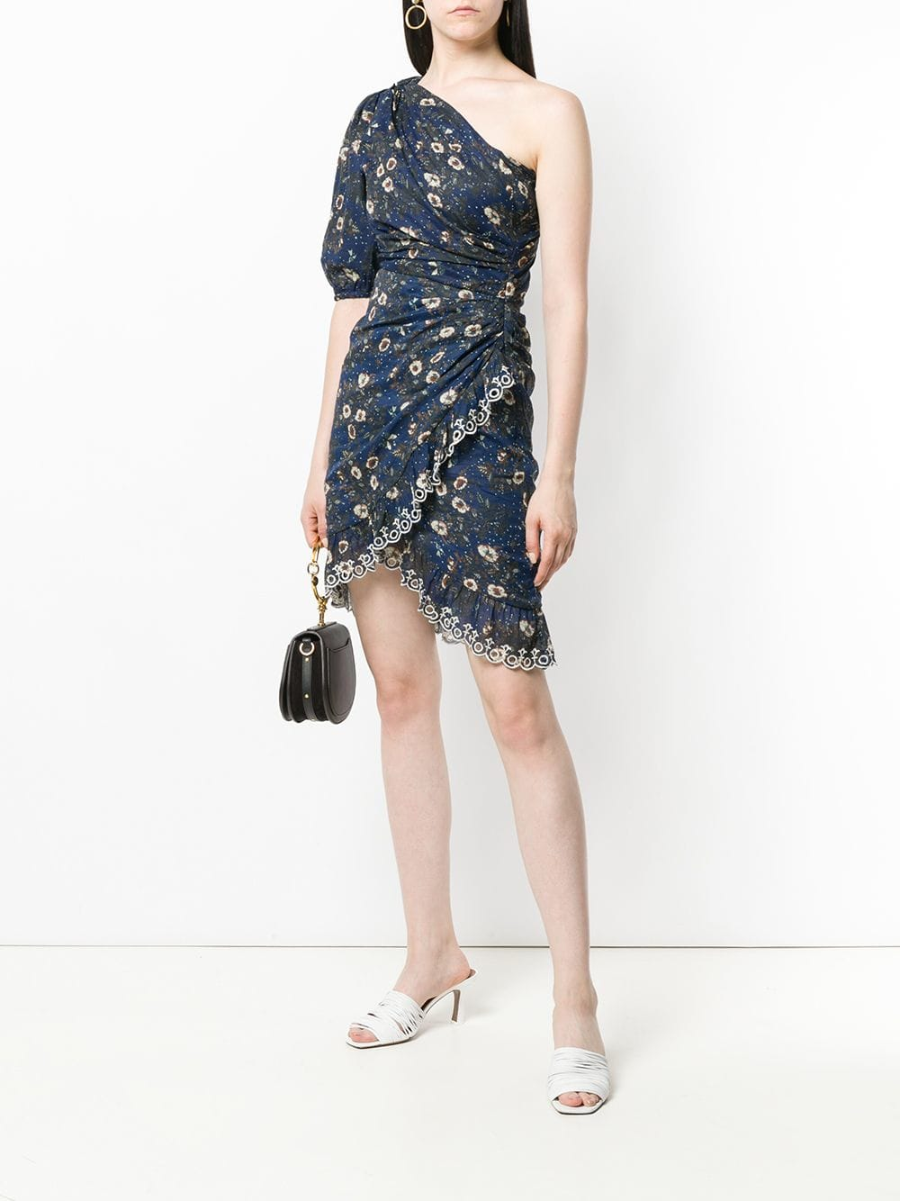 ISABEL MARANT ÉTOILE Esther One Shoulder Navy Dress