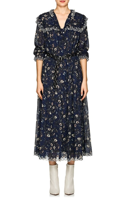 ISABEL MARANT ÉTOILE Floral Cotton Maxi Navy Dress