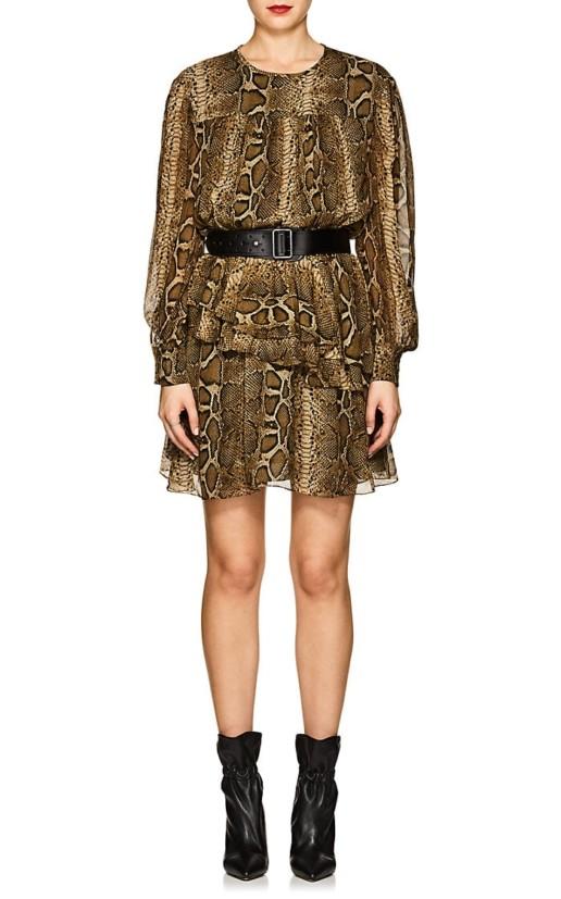 ISABEL MARANT ÉTOILE Java Chiffon Mini Brown / Black Dress