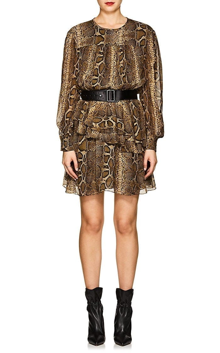 ISABEL MARANT ÉTOILE Java Chiffon Mini Brown / Black Dress