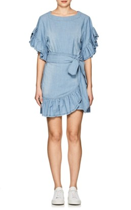 ISABEL MARANT ÉTOILE Lelicia Chambray Apron Front Mini Blue Dress