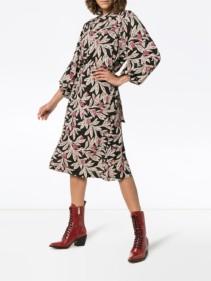ISABEL MARANT ÉTOILE Lisa Wrap Black / Floral Printed Dress
