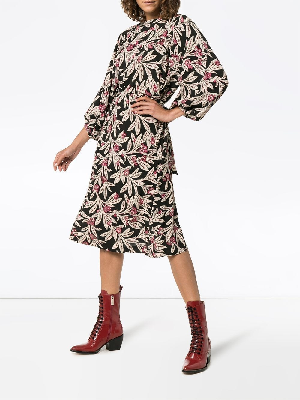 ISABEL MARANT ÉTOILE Lisa Wrap Black / Floral Printed Dress