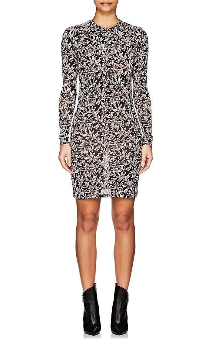 442b3c9f97c ISABEL MARANT ÉTOILE Trani Jersey Mini Black / Floral Printed Dress ...