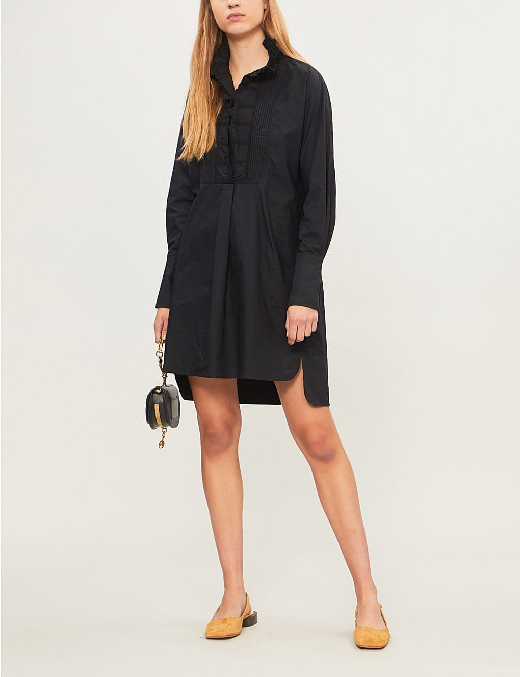 ISABEL MARANT ETOILE Milena Cotton Mini Black Dress