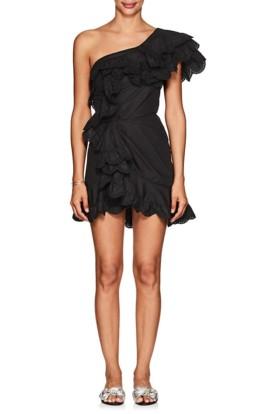 ISABEL MARANT Jiska Cotton Poplin One-Shoulder Black Dress