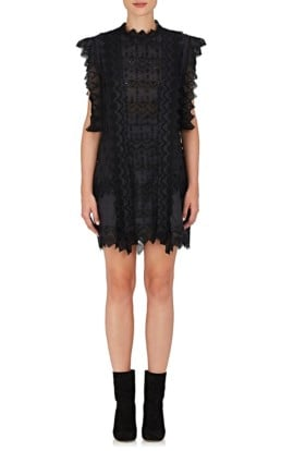 ISABEL MARANT Nubia Embroidered Voile Shift Black Dress