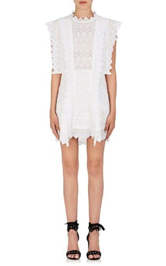 ISABEL MARANT Nubia Embroidered Voile Shift White Dress