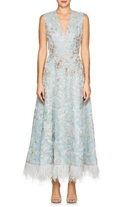 J._MENDEL_Feather-Trimmed_Beaded_Silk_Cocktail_Light_Blue_Dress