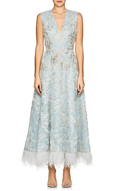 J._MENDEL_Feather-Trimmed_Beaded_Silk_Cocktail_Light_Blue_Dress