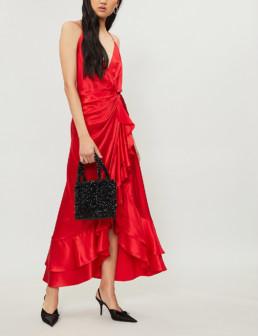 JOHANNA ORTIZ Perfumero Silk-Satin Midi Spicy Red Dress