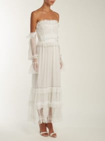 JONATHAN SIMKHAI Corset Style Ruffled Tulle White Dress
