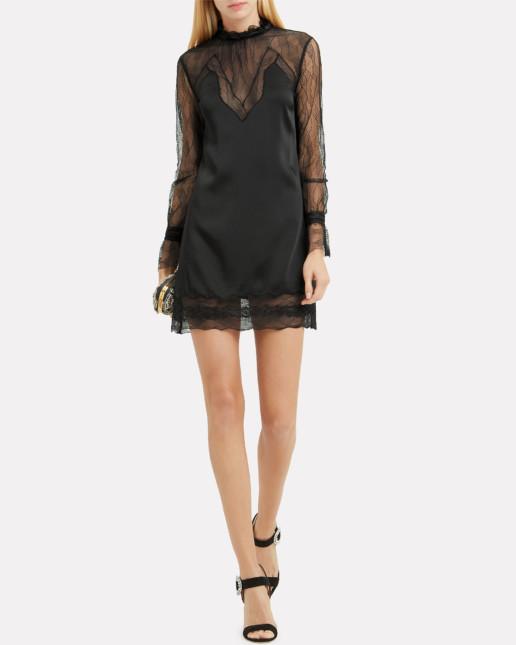 JONATHAN SIMKHAI Lingerie Sateen Mini Black Dress