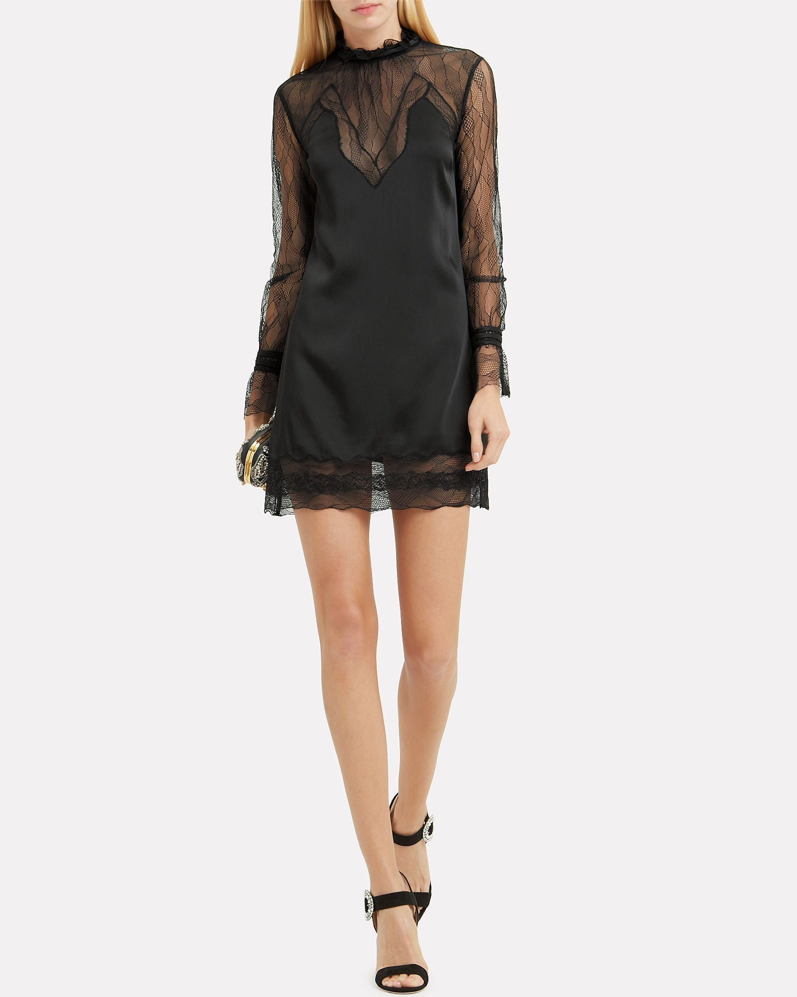 JONATHAN SIMKHAI Lingerie Sateen Mini Black Dress