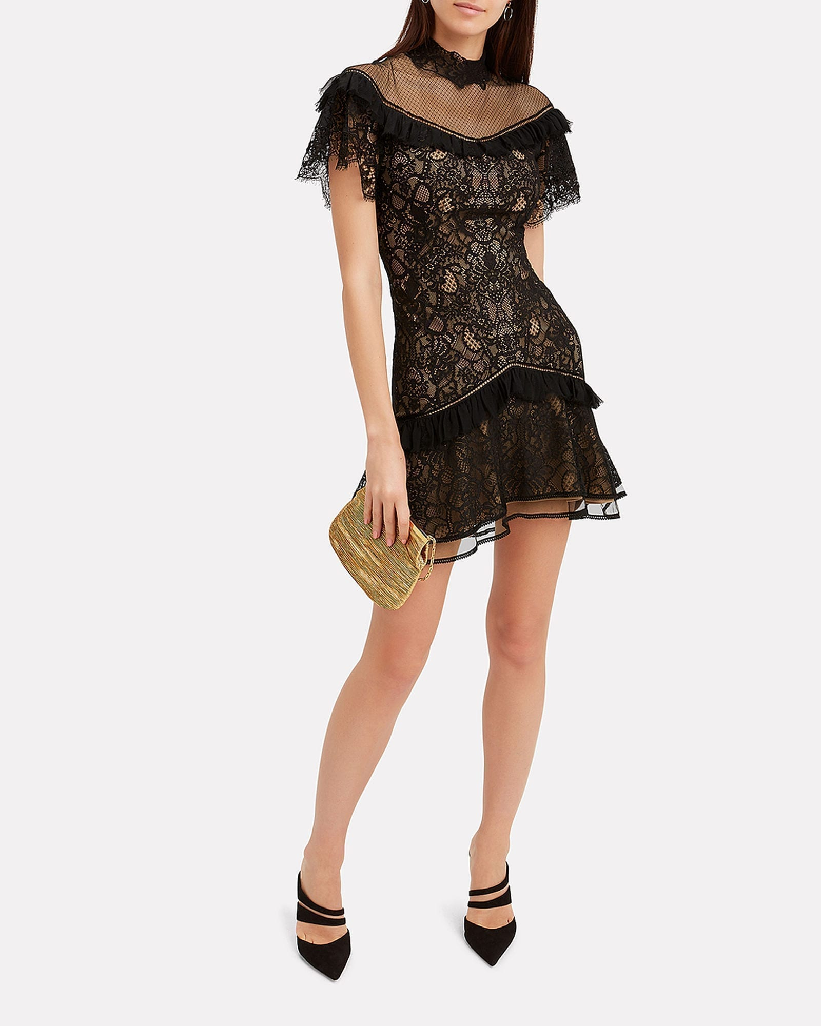 JONATHAN SIMKHAI Mixed Lace Mini Black Dress