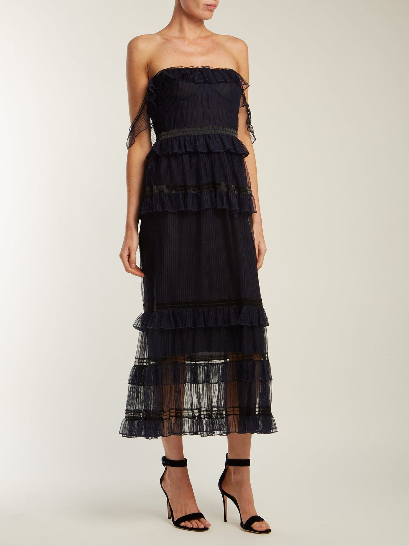 121fb9e9a0 JONATHAN SIMKHAI Strapless Ruffled Tulle Navy Dress - We Select Dresses