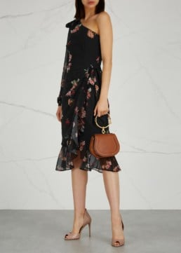 KEEPSAKE Evolve Floral-Print Chiffon Black Dress