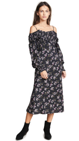 LA MAISON TALULAH Chaleur Midi Black / Floral Printed Dress