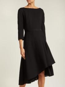 LANVIN Asymmetric Pleated Wool Midi Black Dress