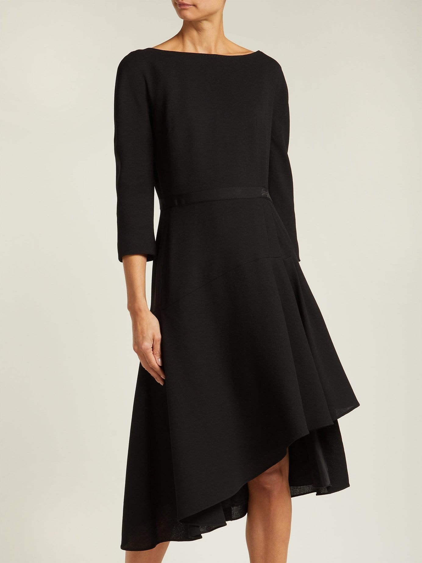 LANVIN Asymmetric Pleated Wool Midi Black Dress
